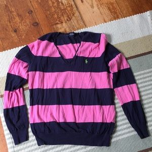 Ralph Lauren pink and navy stripe sweater